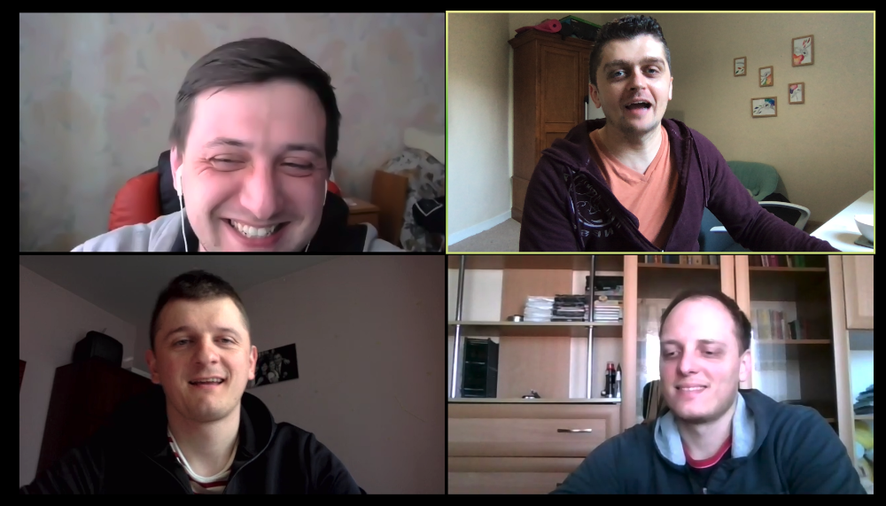 Product team having fun on Zoom call