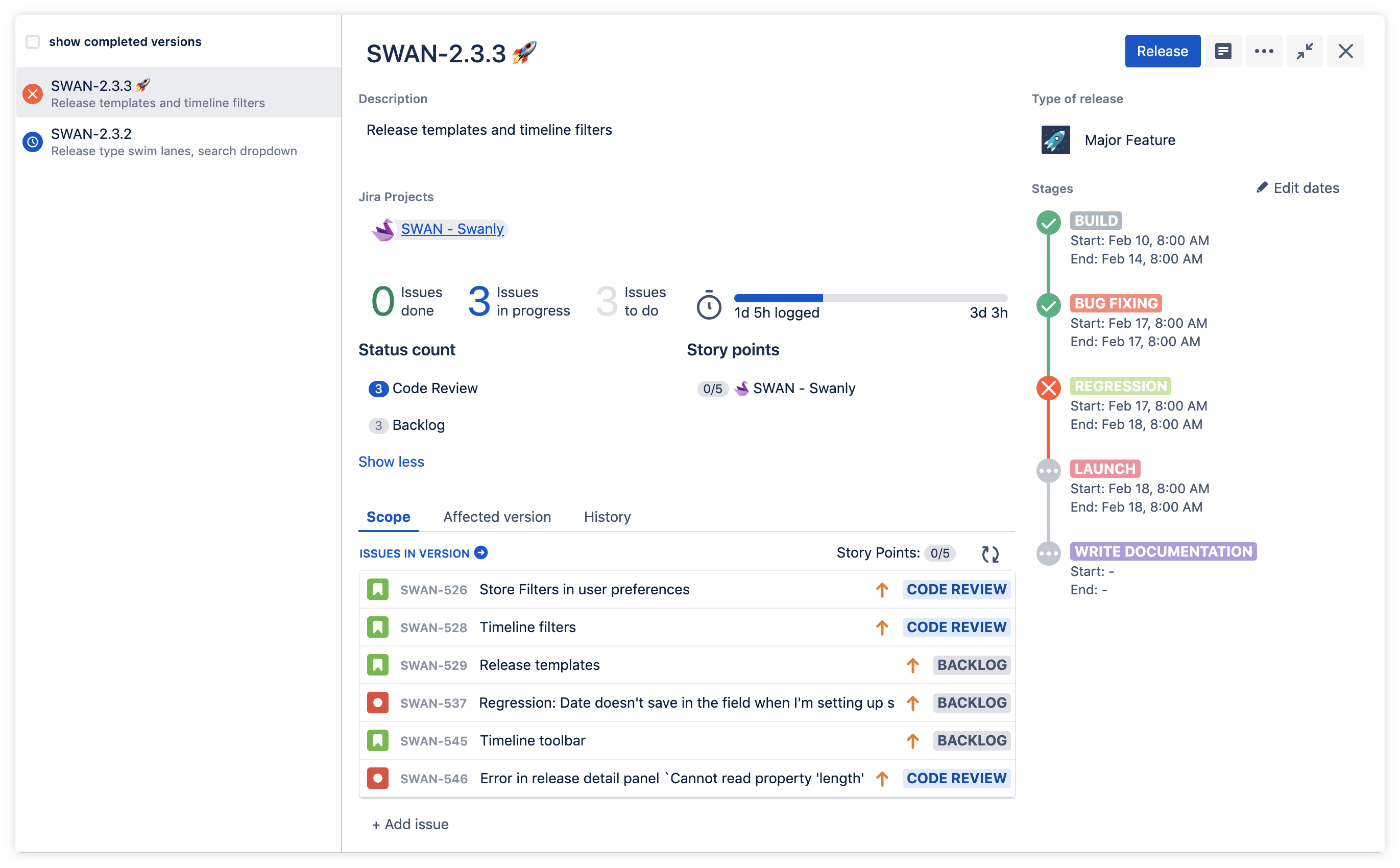 Using Jira epics and versions to track