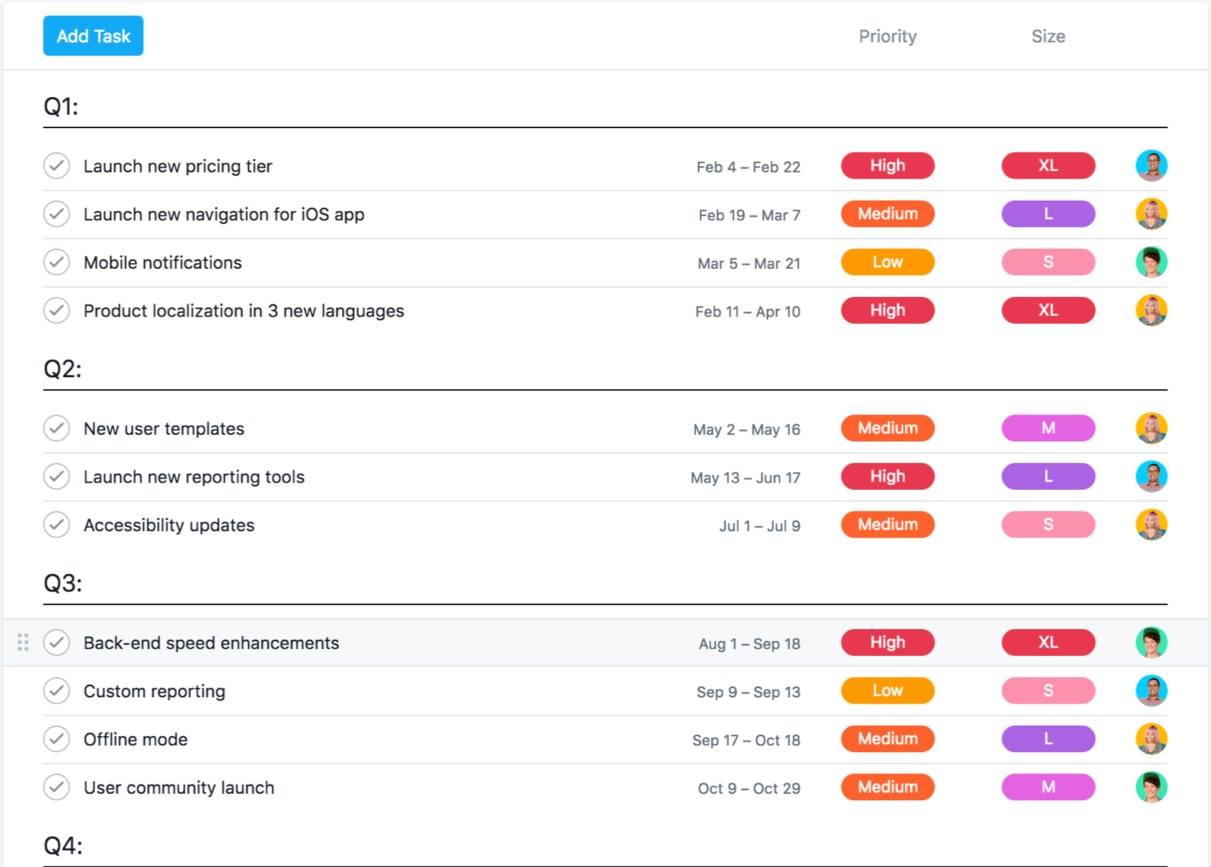 Product roadmap feature in Asana