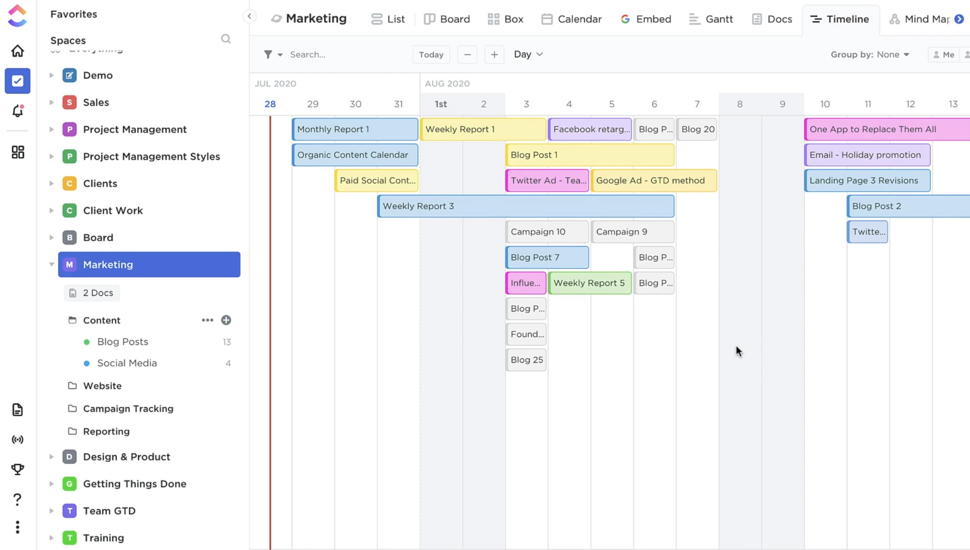Project roadmap in ClickUp management tool