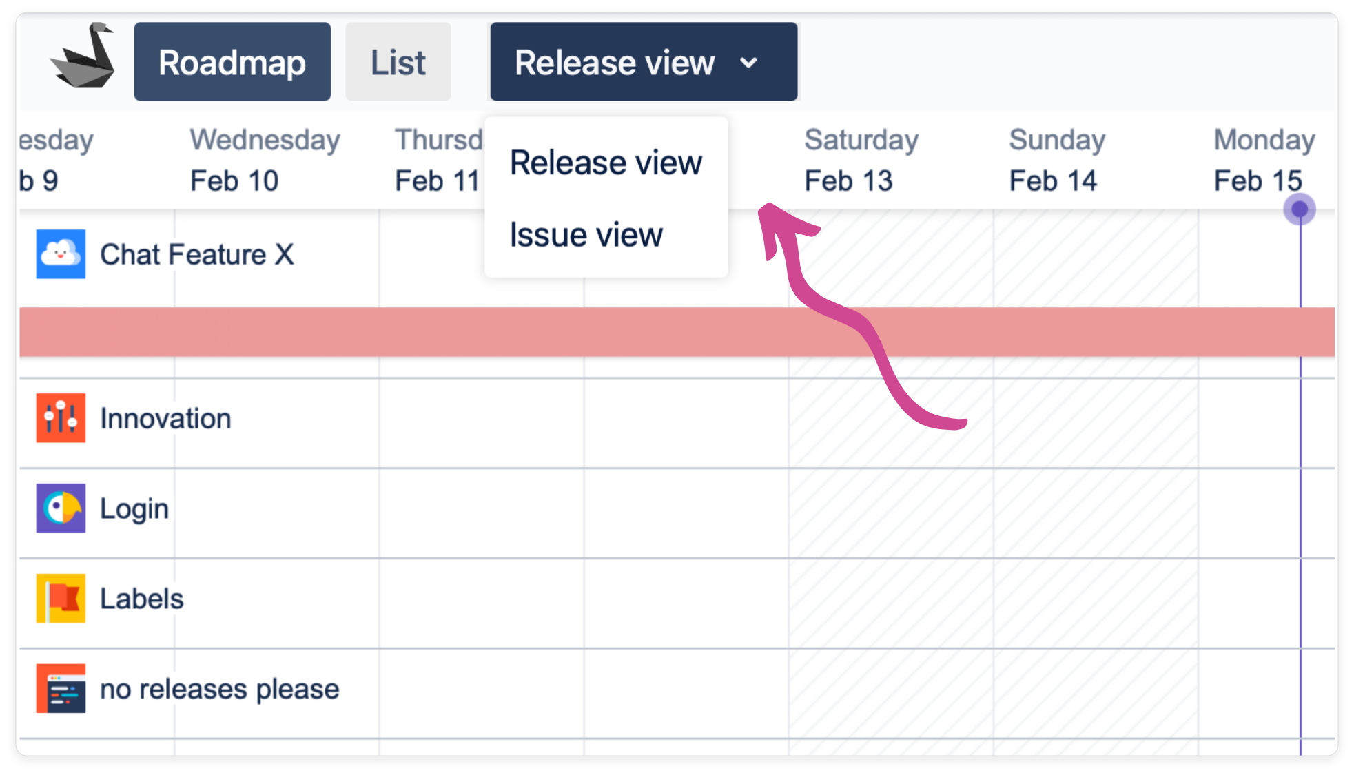 One window for release and issue view in Swanly