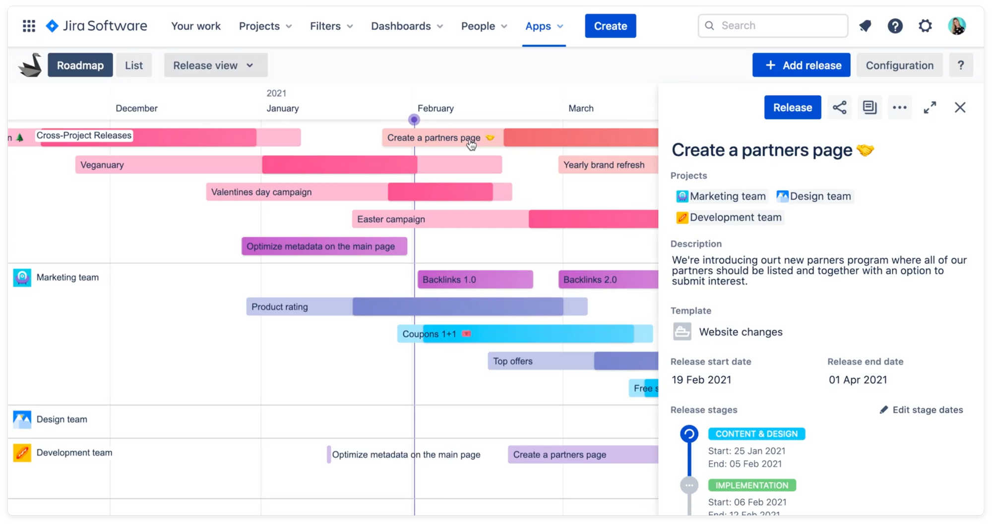 Swanly roadmap with release report on the right