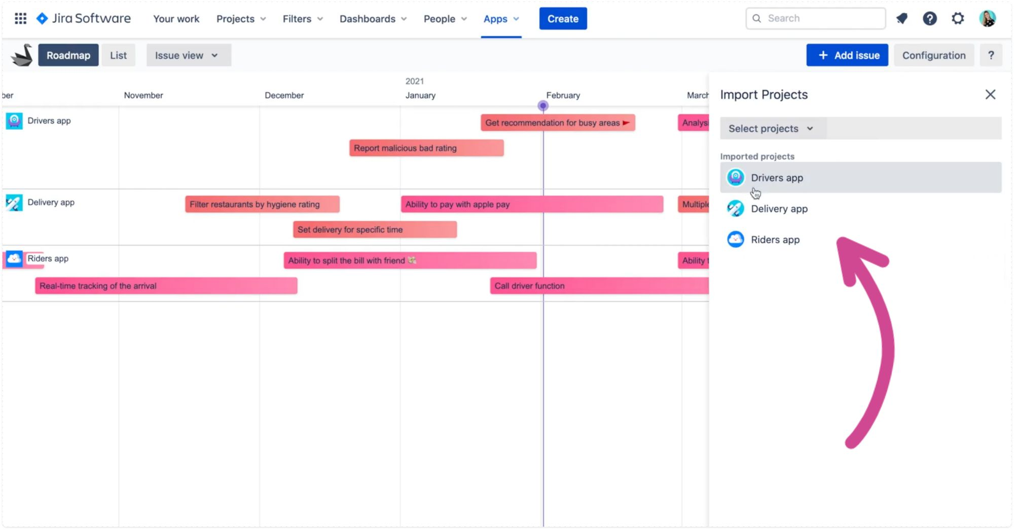 Cross-project product roadmap in Swanly