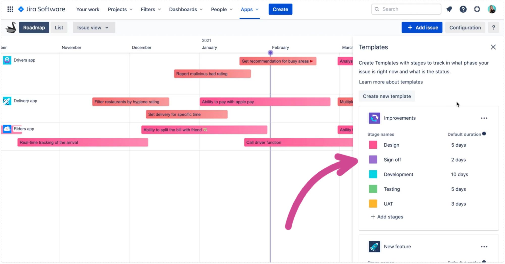 Templates for stages to track issue in Swanly product roadmap