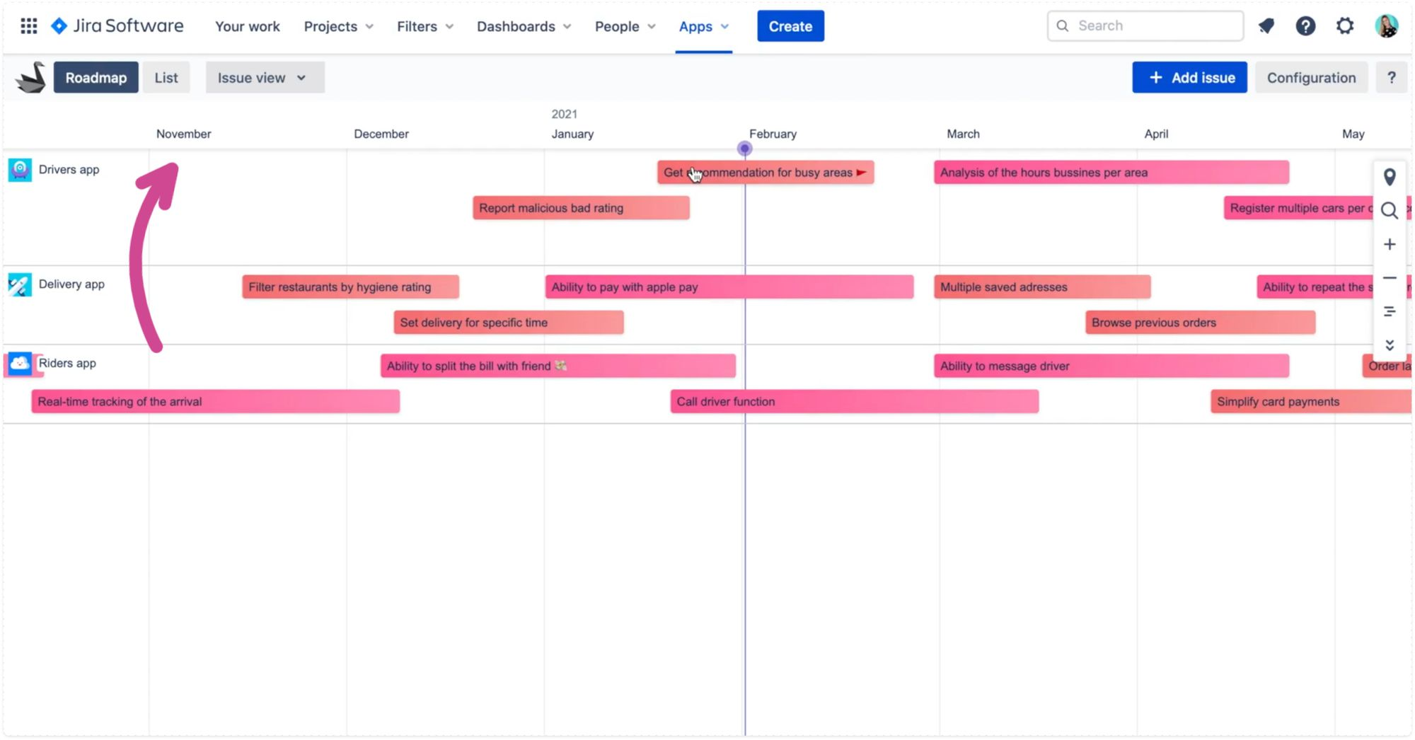 Monthly zoom view in Swanly issue roadmap