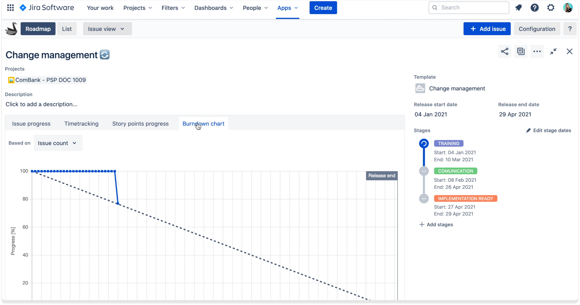 Track time and effort with release burndown chart in Jira with Swanly