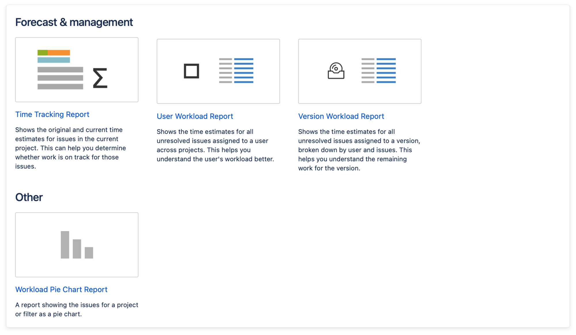 Jira forecast and management reports for projects
