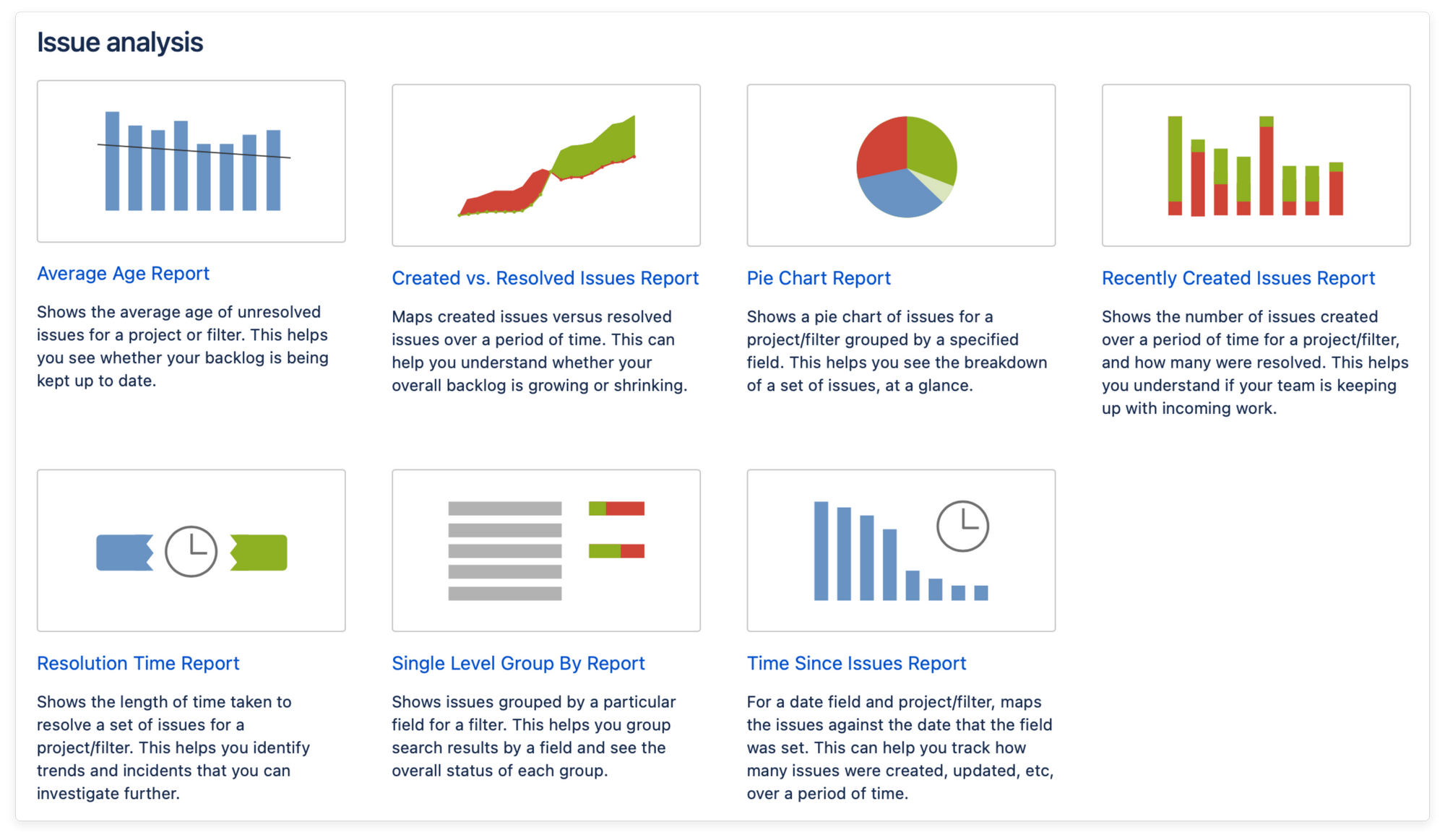 Issue analysis project reports in Jira