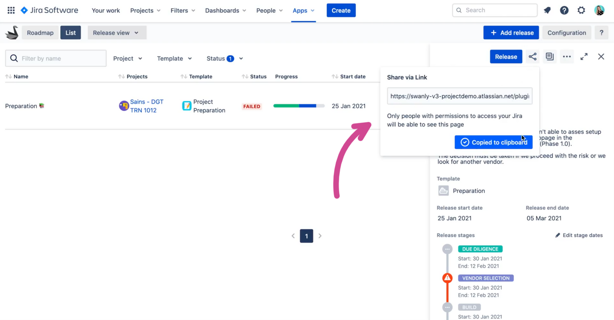 Share reports with stakeholders by copying link in Swanly