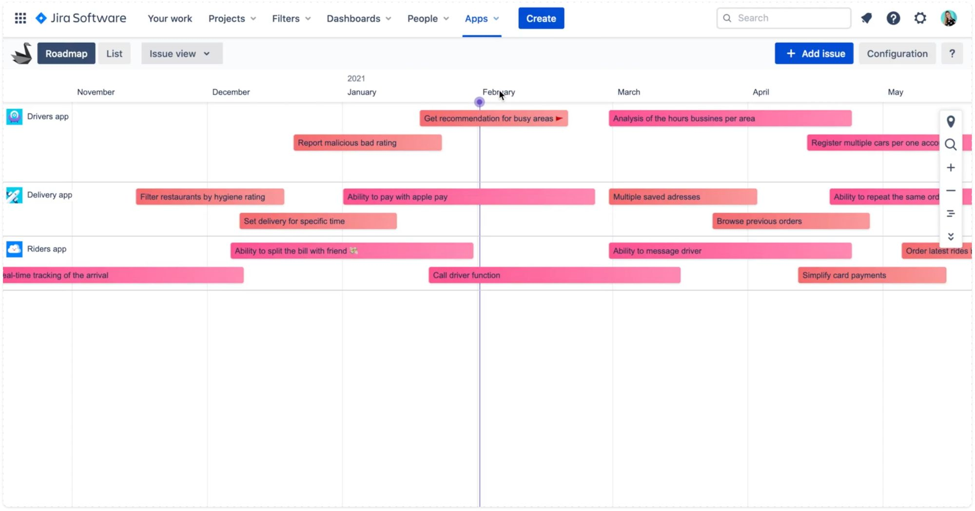 Different colours for different story templates in Swanly product roadmap