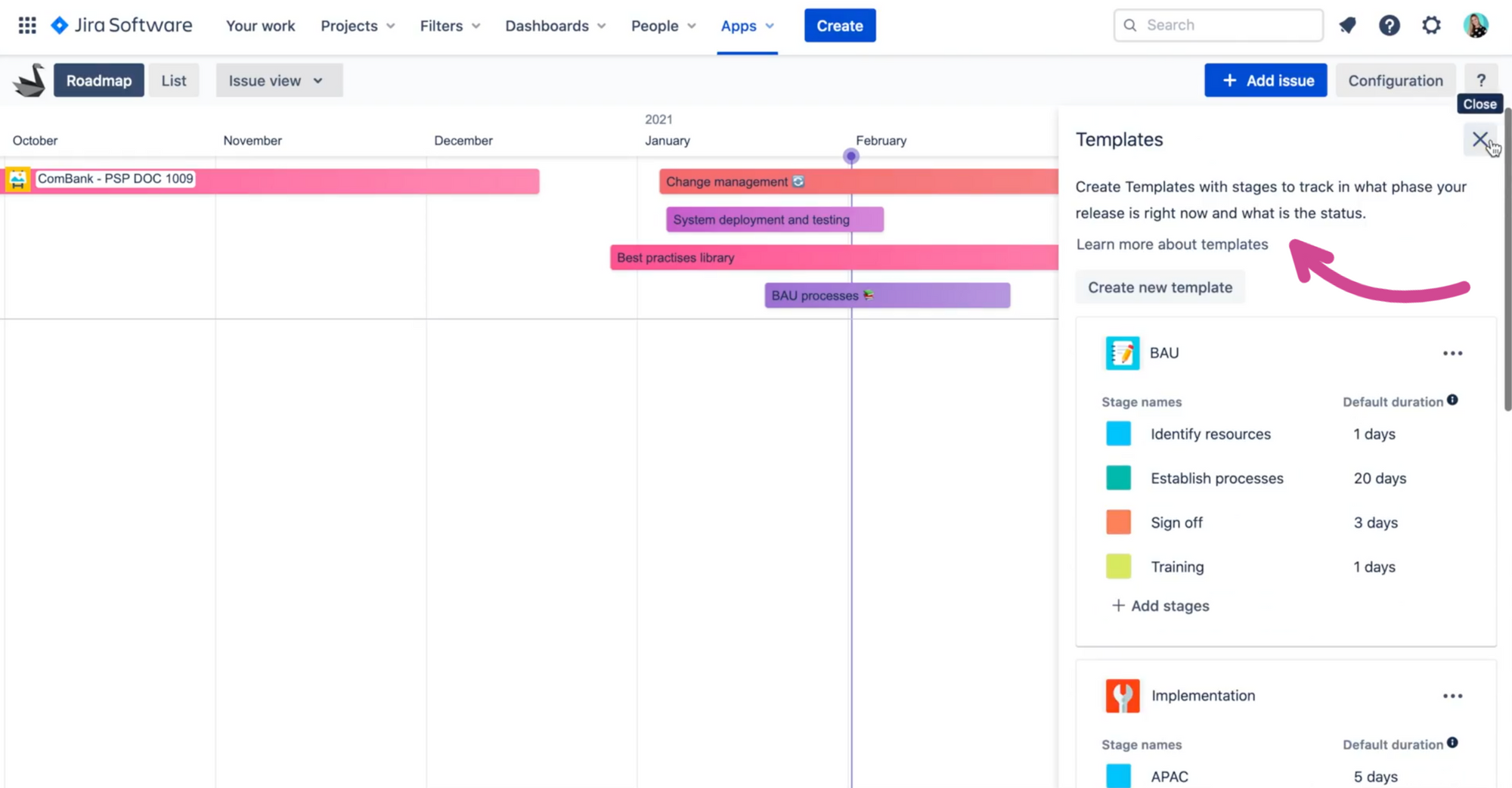 Templates to track project phases in Swanly roadmap