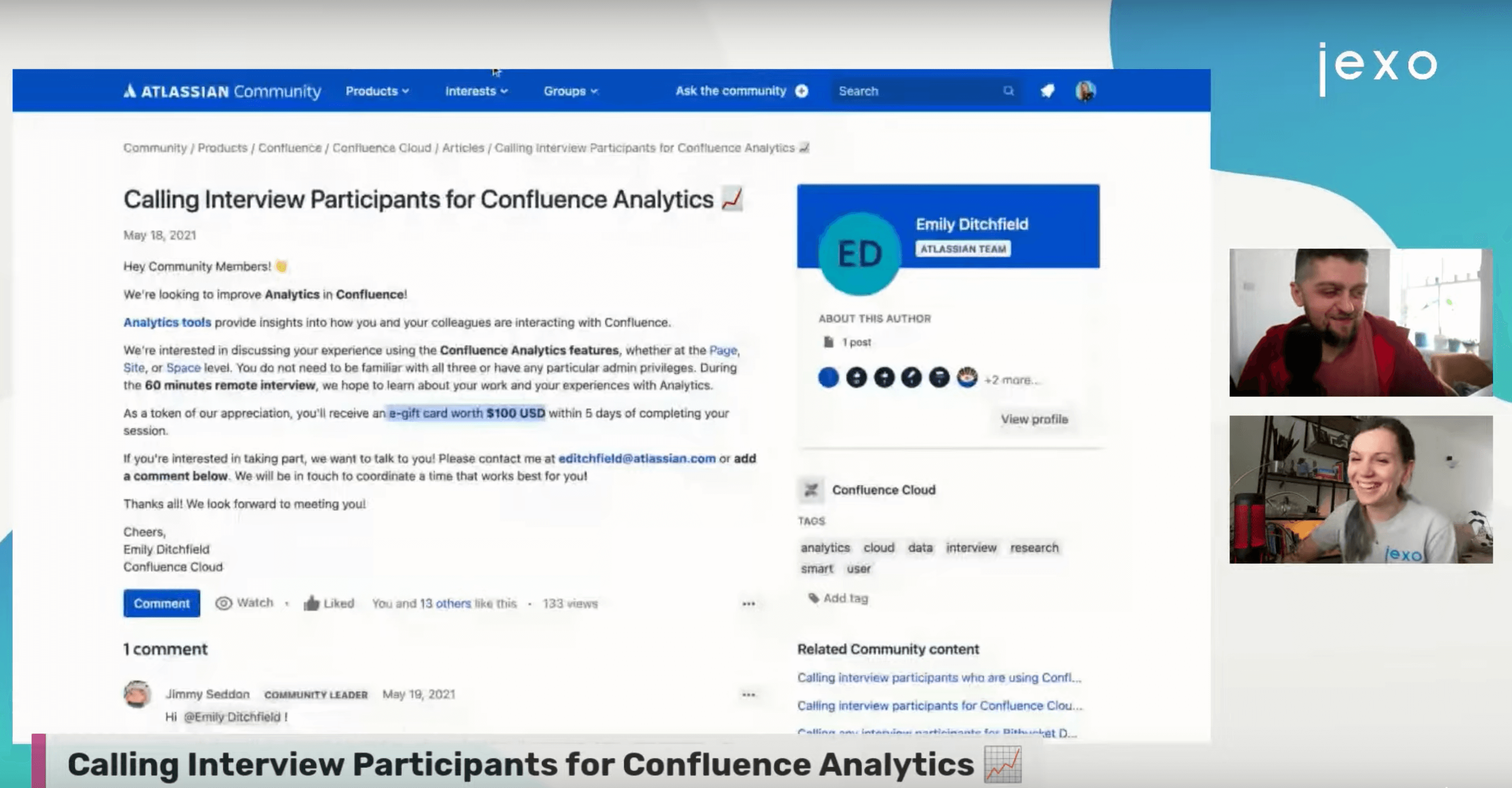Monday coffee with Jexo: We discussed Confluence analytics feedback
