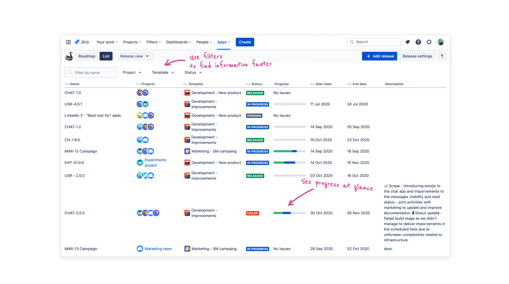 List view for releases and issues in Jira with Swanly roadmap