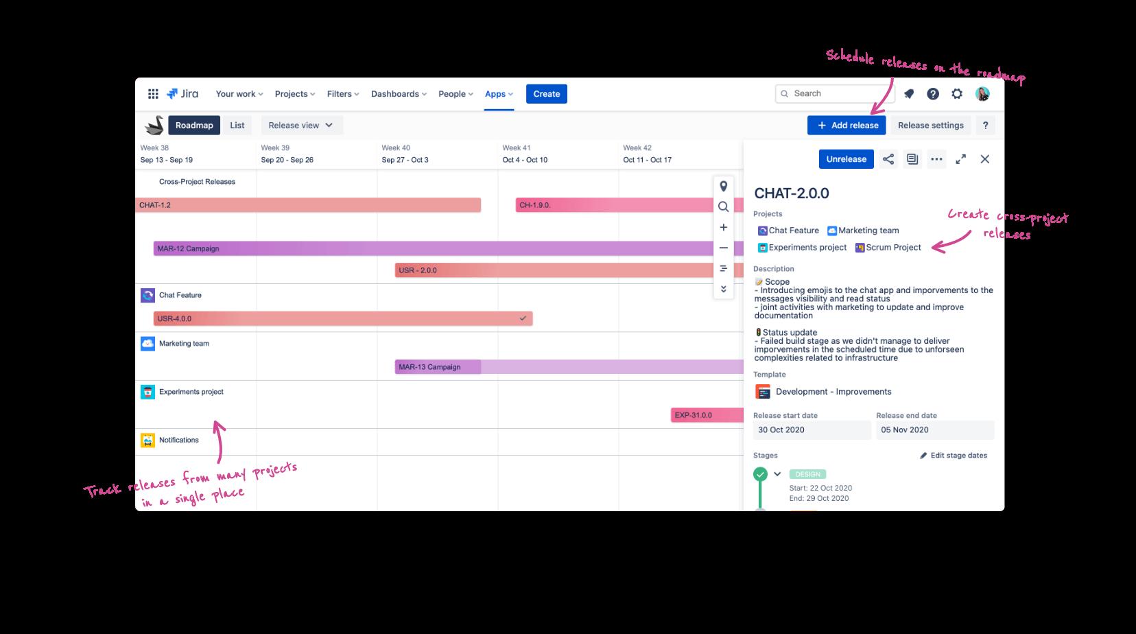Jira project portfolio release roadmap timeline