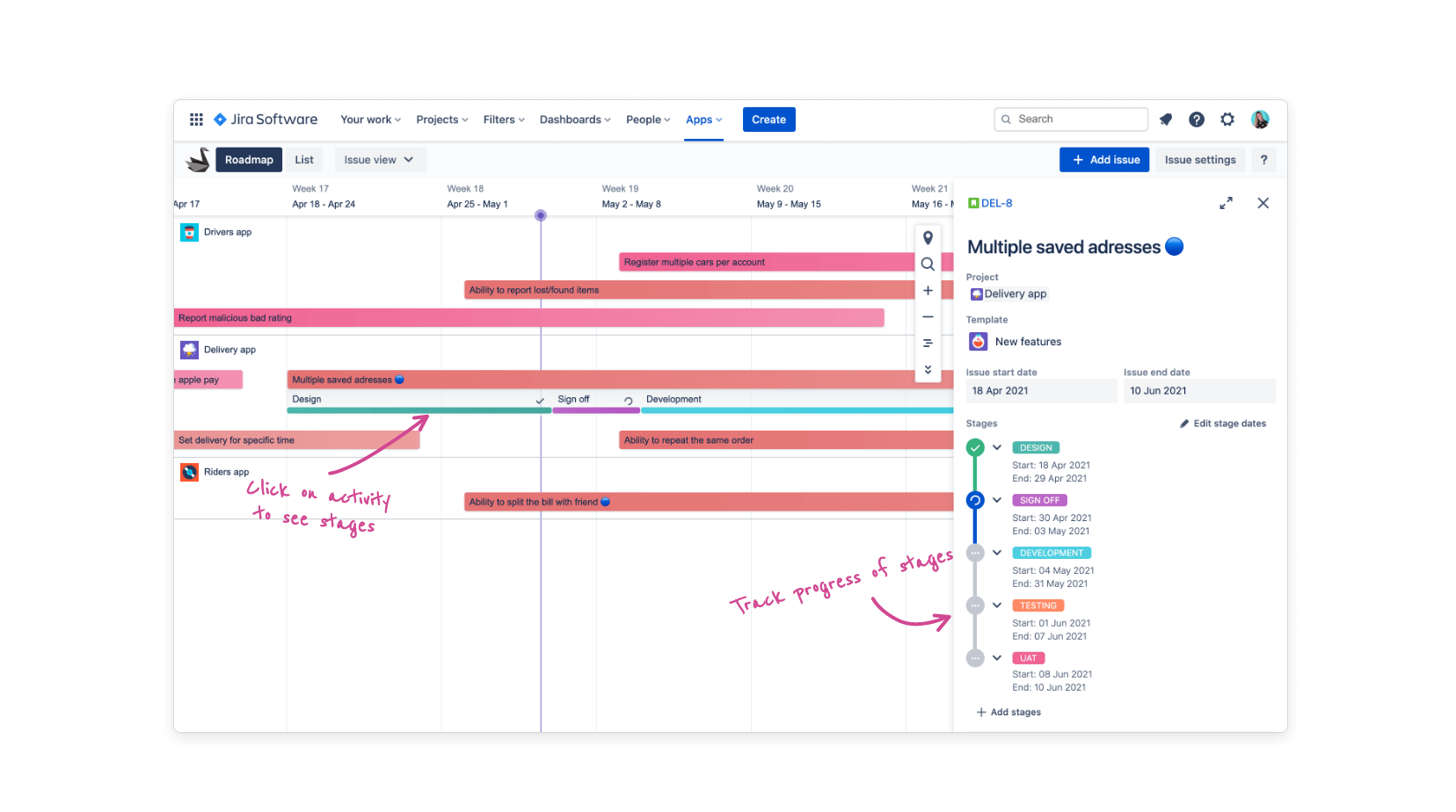 Stage dropdown feature in Swanly project roadmap for Jira