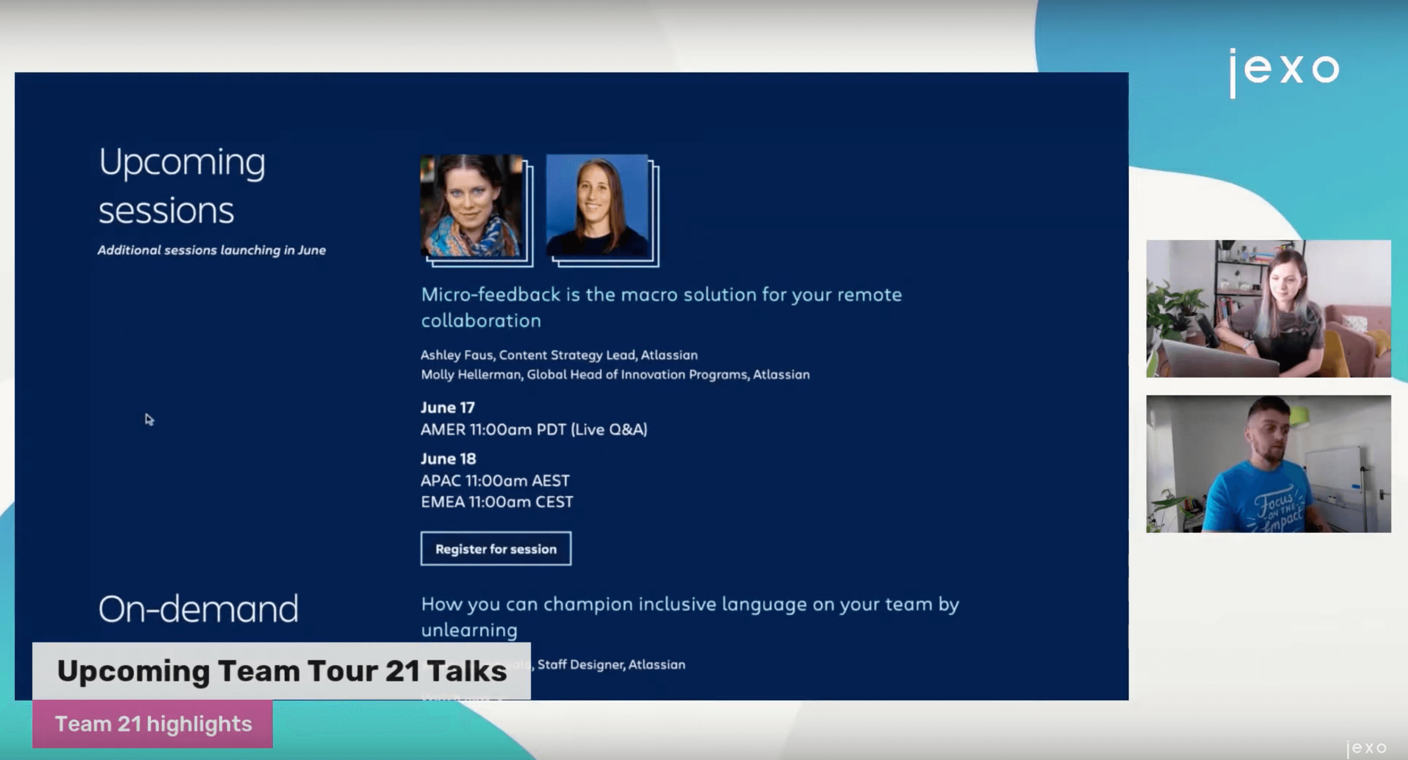 Upcoming talk on Atlassian Team Tour 21 event by Ashley Faus and Molly Hellerman from Atlassian.