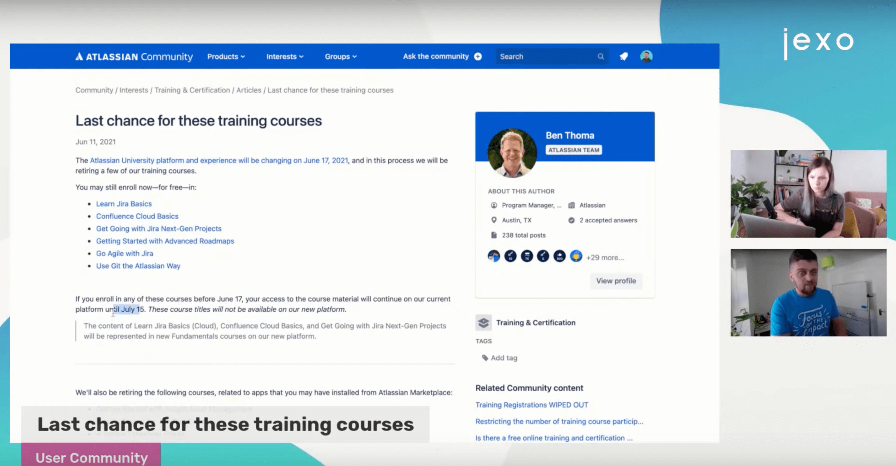 Last chance to enrol to these Atlassian university courses.