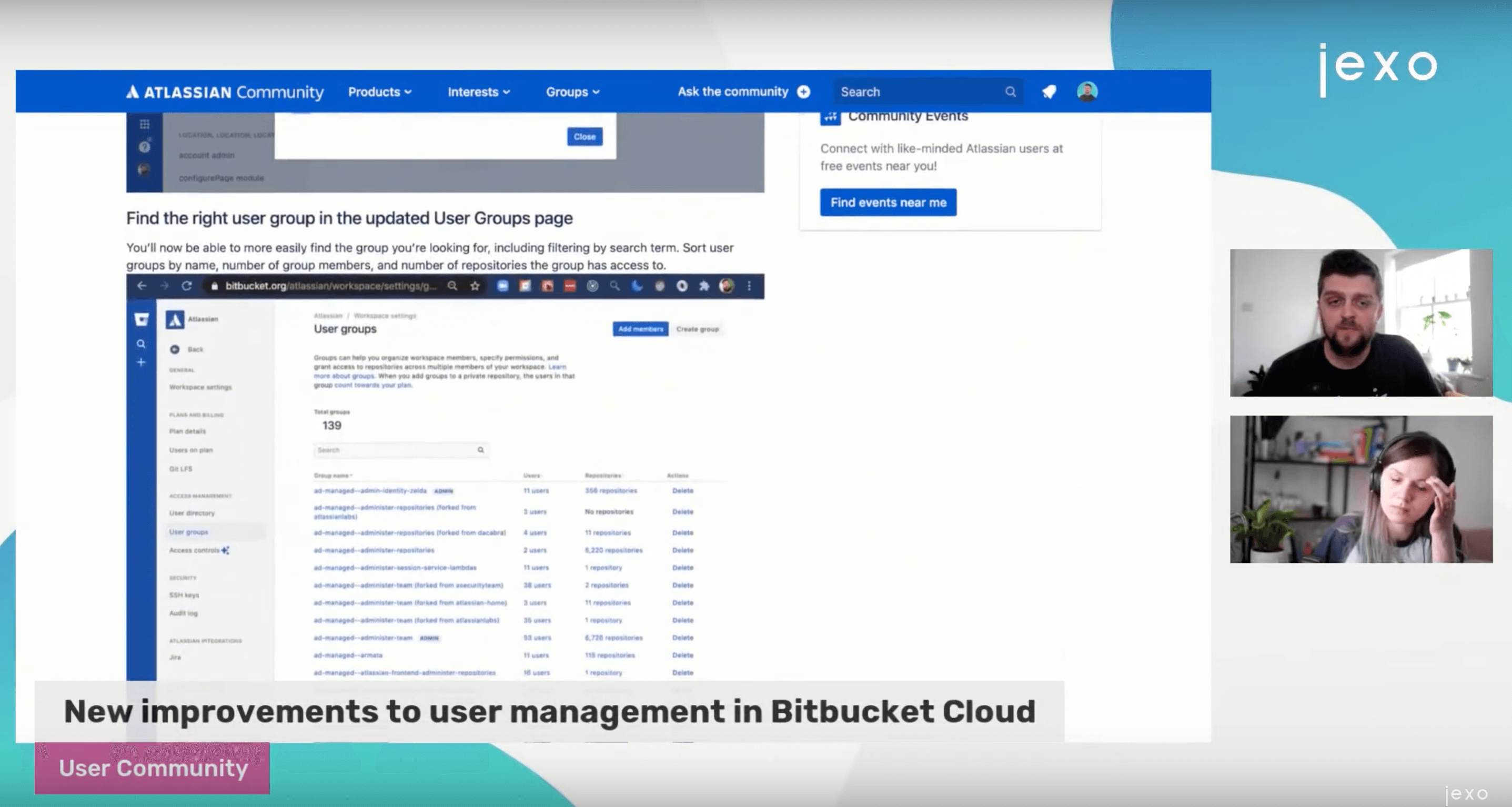 New improvements to the User Administration page on Bitbucket.