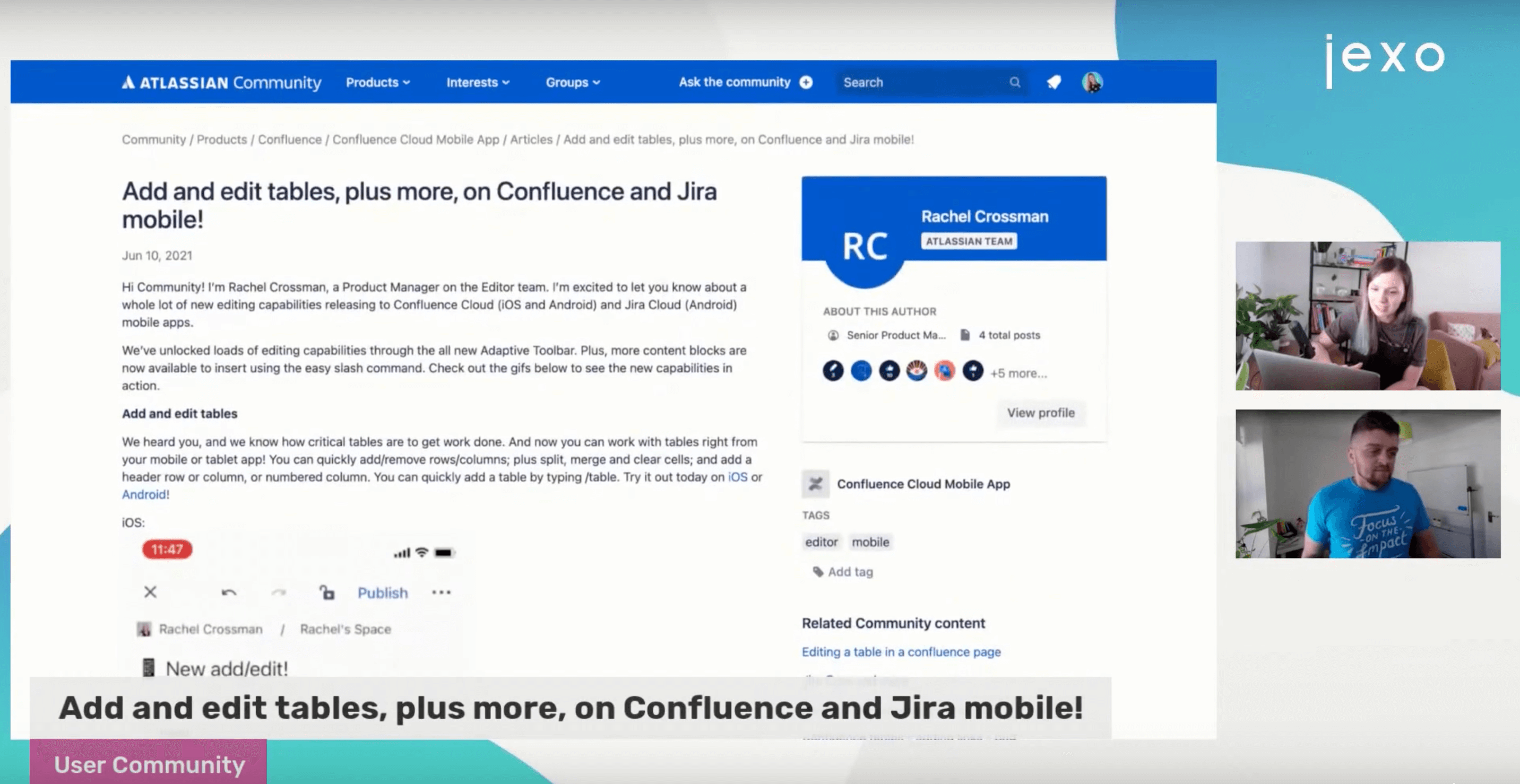 Edit tables improvements to Jira and Confluence mobile apps.