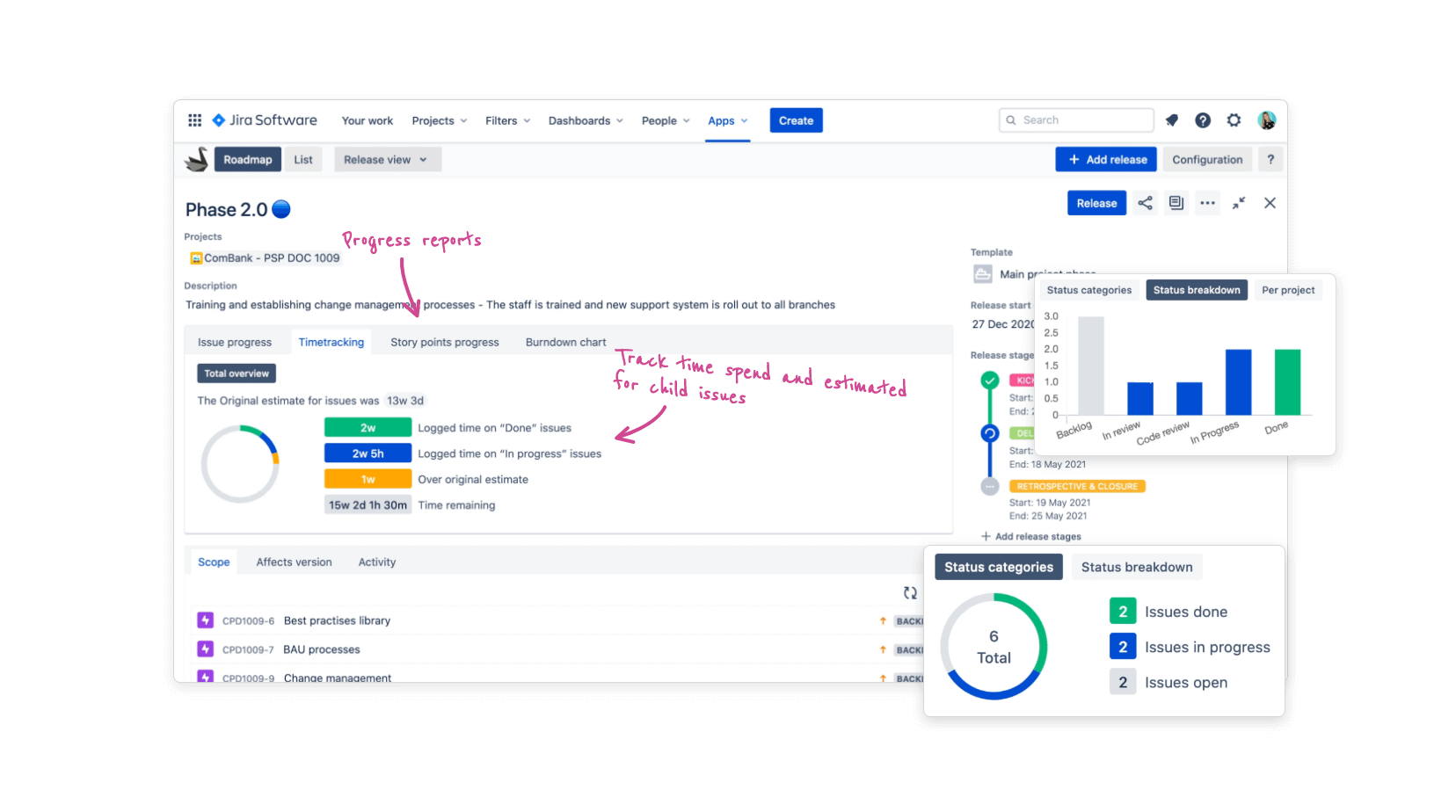 Jira issue and release report panel feature in Swanly