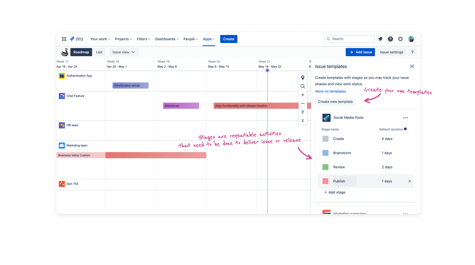 Predefined and custom stage templates in Swanly - Jira roadmap