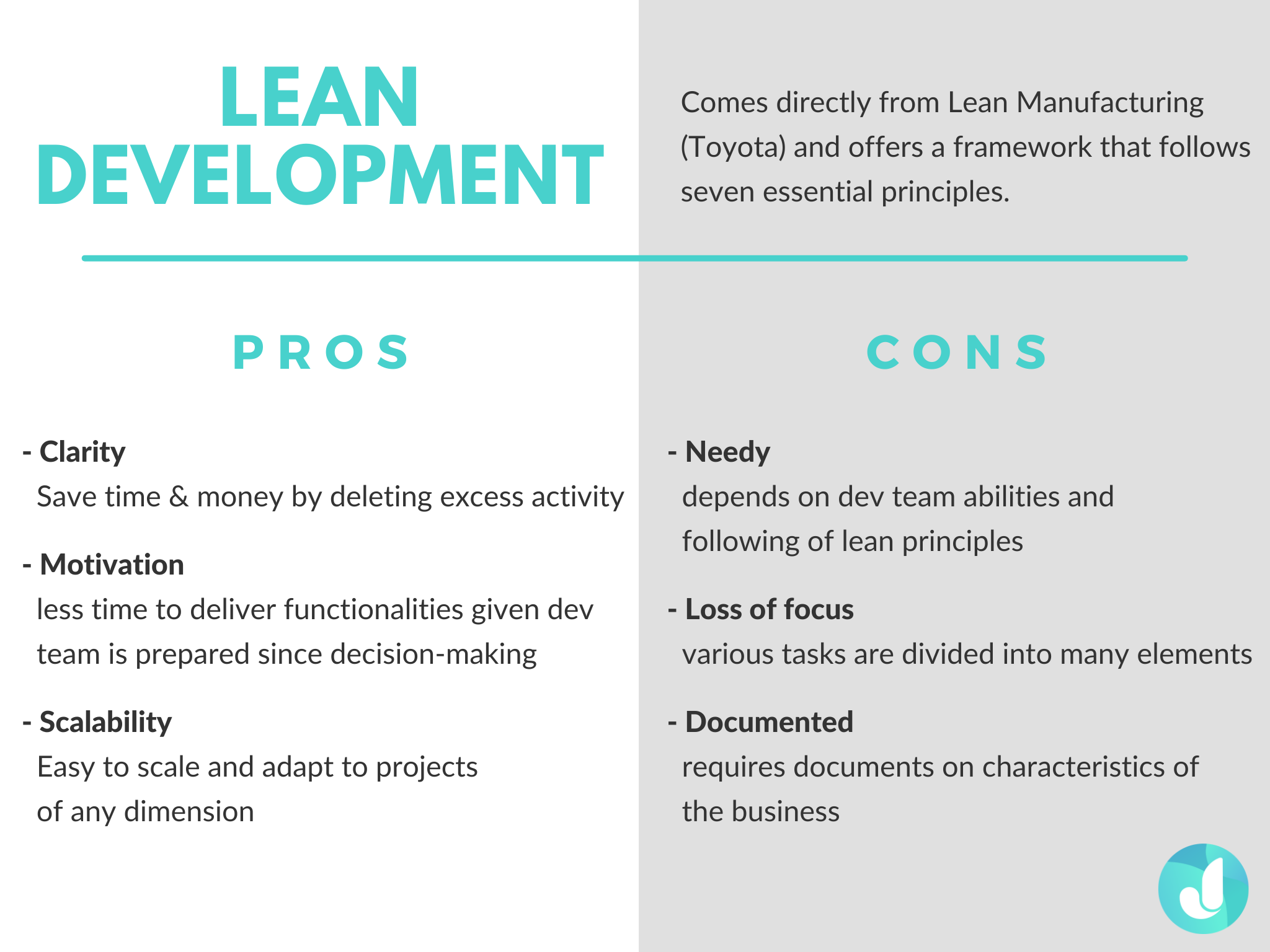 The pros and cons of Lean Development Agile Methodology