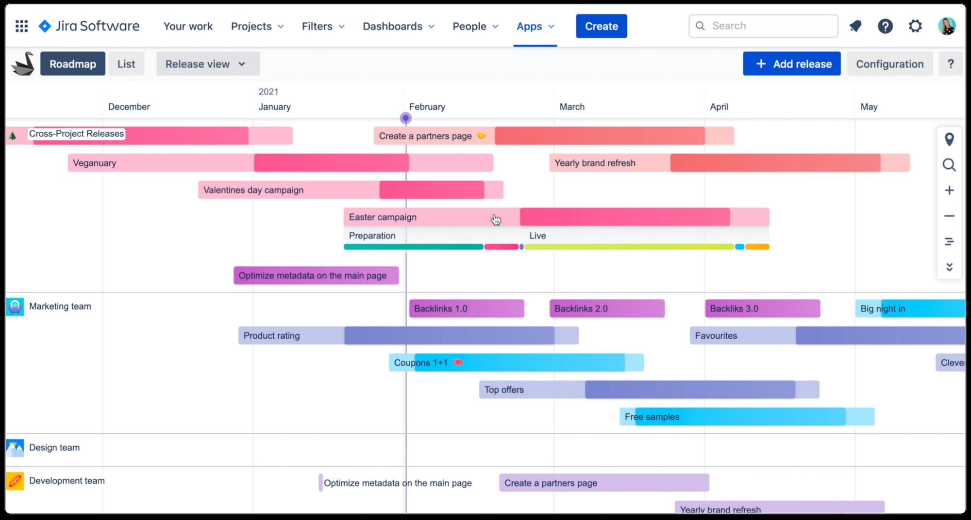 Swanly: project portfolio roadmap timeline for Jira