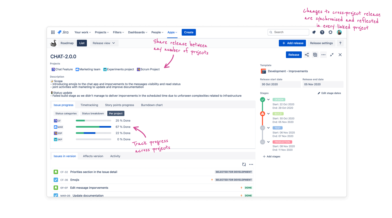 Jira release and issue report view with Swanly