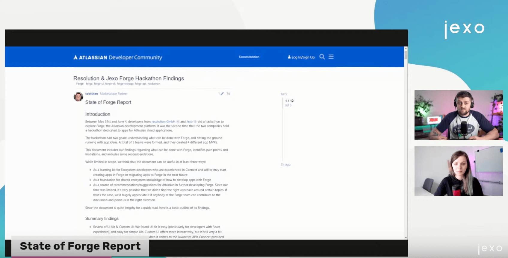 Atlassian News: Resolution and Jexo Forge report