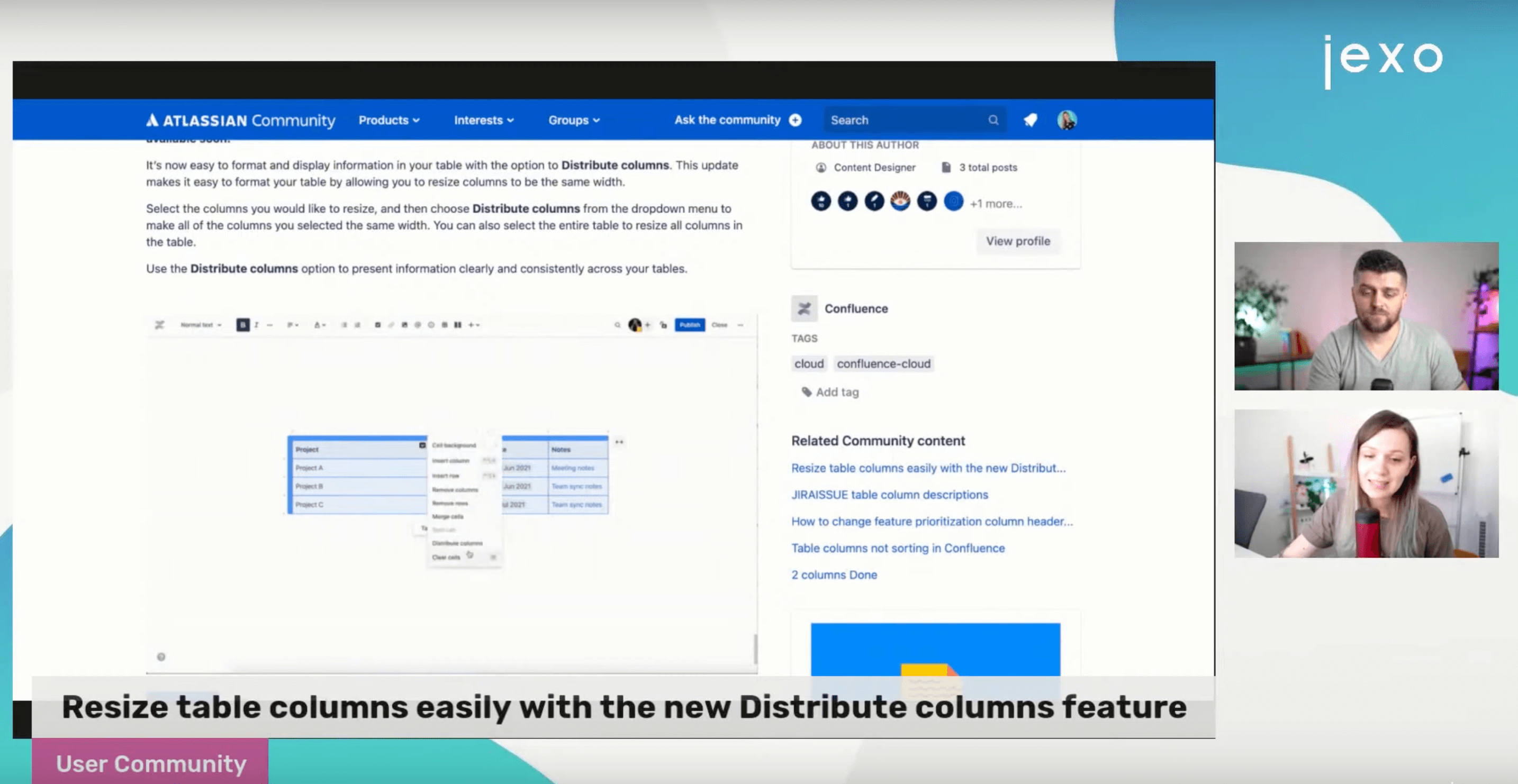How to resize and distribute table columns Confluence
