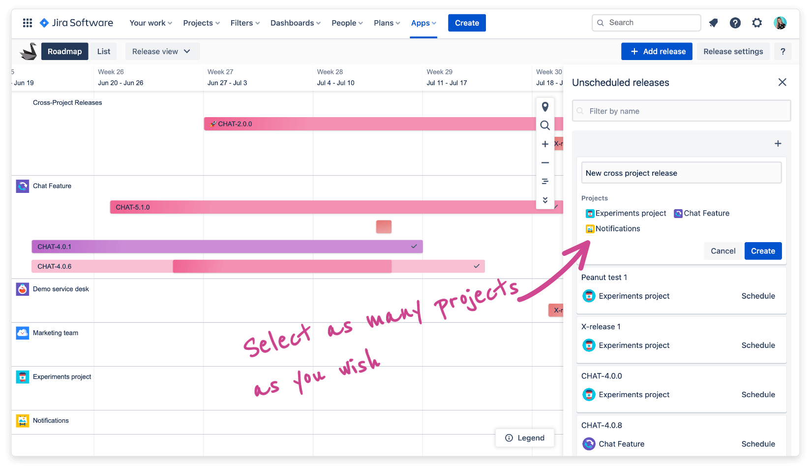 Share Jira Versions Across Projects in Swanly