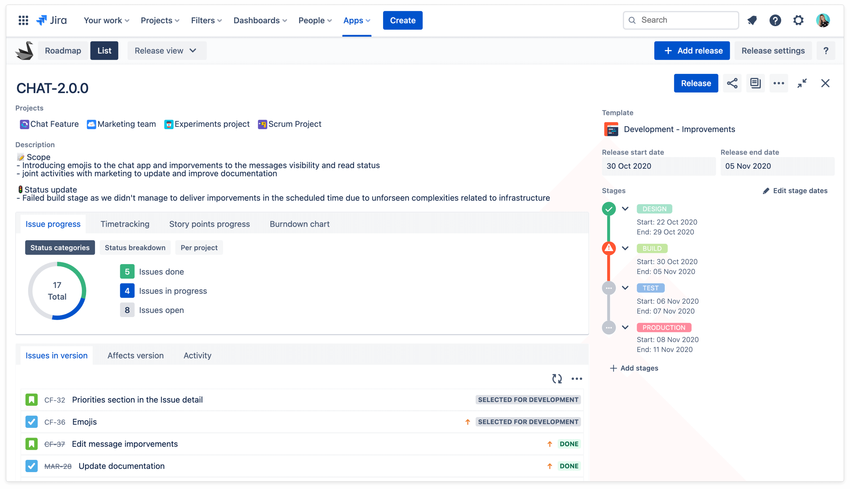 Tracking Progress of Jira Version across Multiple Projects