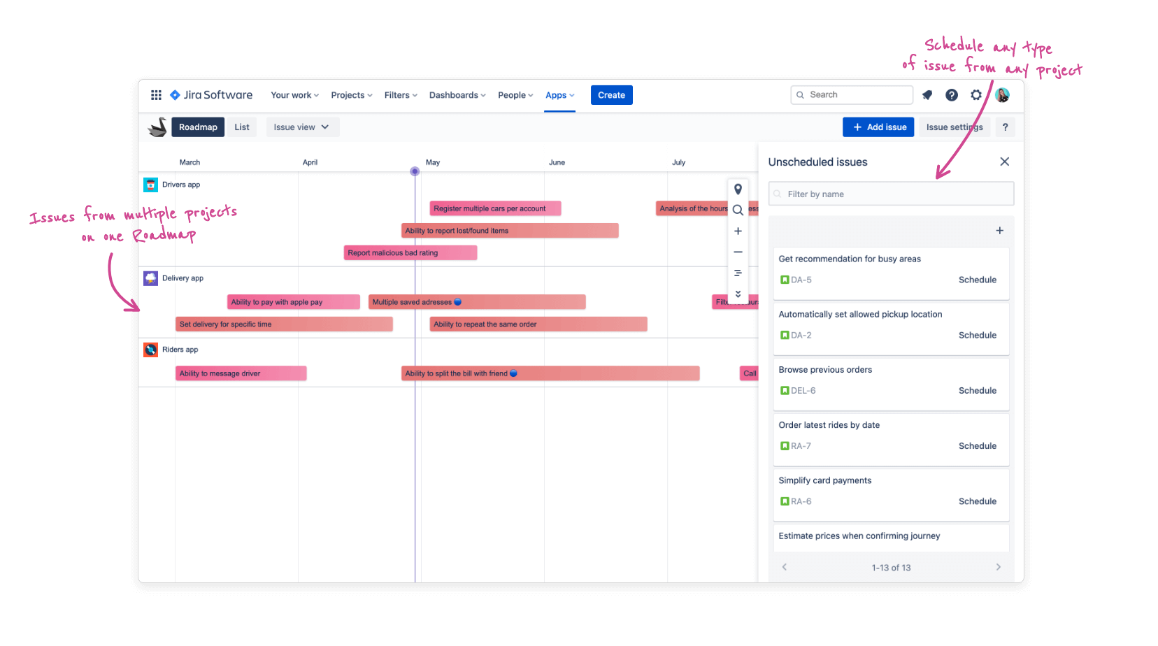 Swanly roadmap - project tracking in Jira