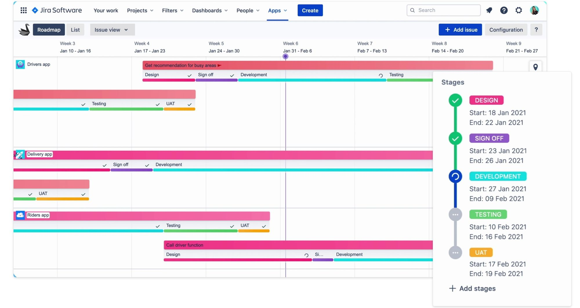 Plan product stages with Swanly Jira roadmap plugin