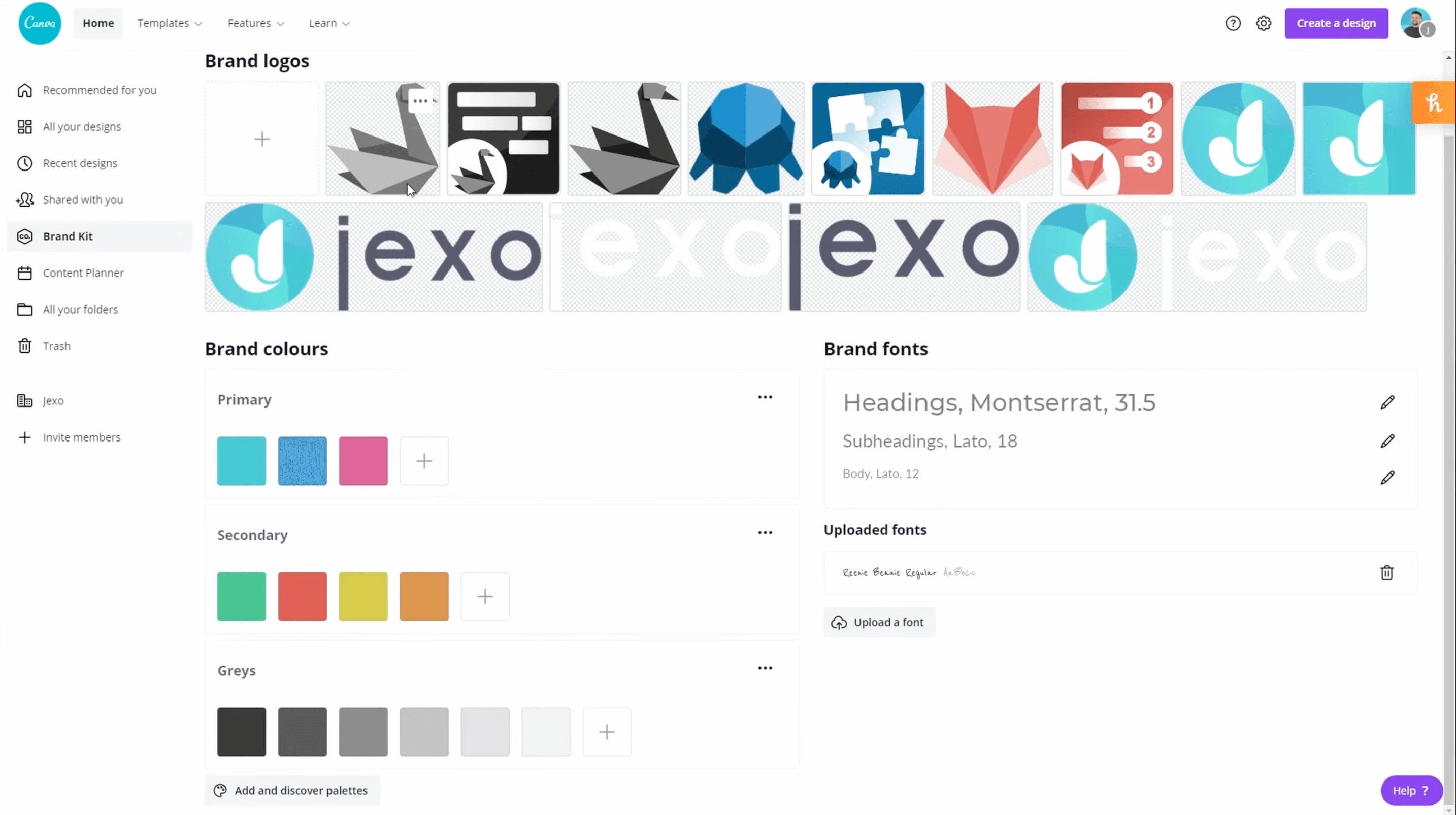 Save your brand colours and templates in Canva